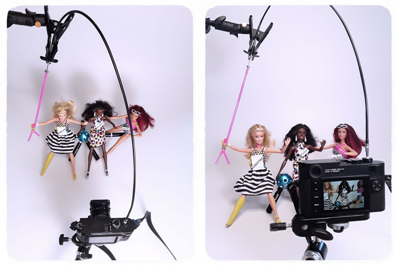 Barbies Photo Booth, table top photography, Barbie selfie
